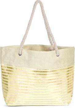 styleBREAKER Damen XXL Strandtasche mit Metallic Streifen und Reißverschluss, Schultertasche, Shopper 02012281 – Bild 6