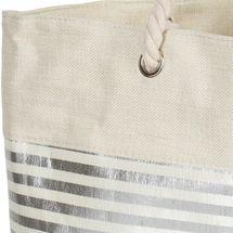 styleBREAKER Damen XXL Strandtasche mit Metallic Streifen und Reißverschluss, Schultertasche, Shopper 02012281 – Bild 4