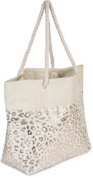 styleBREAKER Damen XXL Strandtasche mit Metallic Leoparden Animal Print und Reißverschluss, Schultertasche, Shopper 02012282 – Bild 2