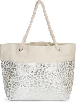styleBREAKER Damen XXL Strandtasche mit Metallic Leoparden Animal Print und Reißverschluss, Schultertasche, Shopper 02012282 – Bild 7