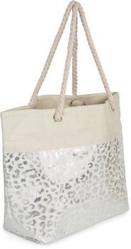 styleBREAKER Damen XXL Strandtasche mit Metallic Leoparden Animal Print und Reißverschluss, Schultertasche, Shopper 02012282 – Bild 8