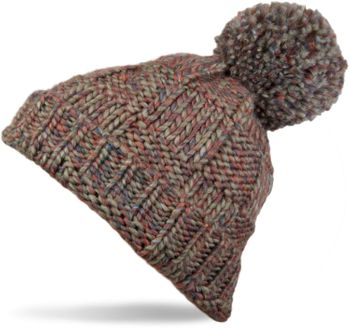 styleBREAKER knitted hat with pompom and structural patterns, multi-colored design 04024014 – Bild 2