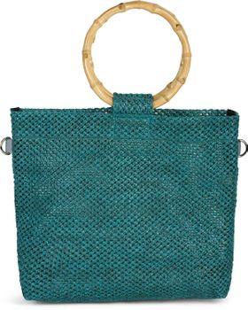 styleBREAKER Damen Henkeltasche mit Bambus Henkel in halb transparenter Häkel Optik, Handtasche, Tasche 02012286 – Bild 1