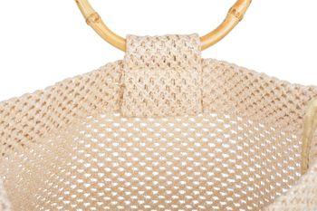 styleBREAKER Damen Henkeltasche mit Bambus Henkel in halb transparenter Häkel Optik, Handtasche, Tasche 02012286 – Bild 16