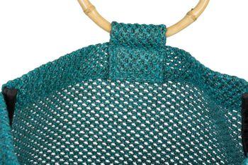 styleBREAKER Damen Henkeltasche mit Bambus Henkel in halb transparenter Häkel Optik, Handtasche, Tasche 02012286 – Bild 4