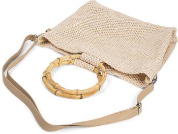 styleBREAKER Damen Henkeltasche mit Bambus Henkel in halb transparenter Häkel Optik, Handtasche, Tasche 02012286 – Bild 15