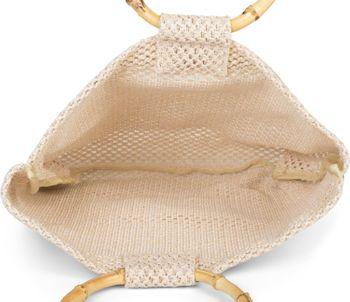 styleBREAKER Damen Henkeltasche mit Bambus Henkel in halb transparenter Häkel Optik, Handtasche, Tasche 02012286 – Bild 17