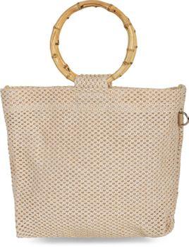 styleBREAKER Damen Henkeltasche mit Bambus Henkel in halb transparenter Häkel Optik, Handtasche, Tasche 02012286 – Bild 13