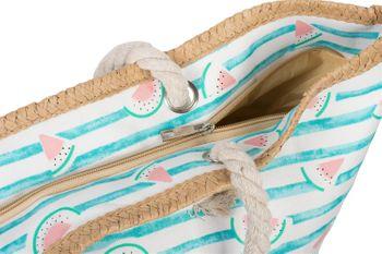 styleBREAKER Damen XXL Strandtasche mit Streifen und Melone Früchte Print, Reißverschluss, Schultertasche, Shopper 02012287 – Bild 13