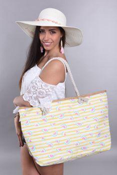 styleBREAKER Damen XXL Strandtasche mit Streifen und Melone Früchte Print, Reißverschluss, Schultertasche, Shopper 02012287 – Bild 22
