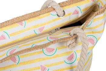 styleBREAKER Damen XXL Strandtasche mit Streifen und Melone Früchte Print, Reißverschluss, Schultertasche, Shopper 02012287 – Bild 8