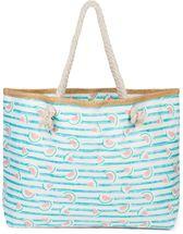 styleBREAKER Damen XXL Strandtasche mit Streifen und Melone Früchte Print, Reißverschluss, Schultertasche, Shopper 02012287 – Bild 11