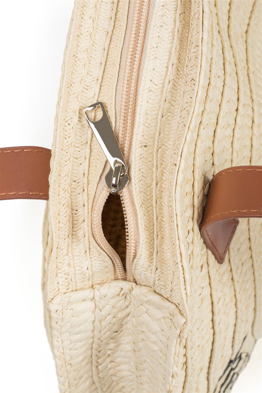 e2fdcaeb5ad6a styleBREAKER Damen runde Korbtasche mit gesticktem  Hello Summer  Spruch  und Reißverschluss