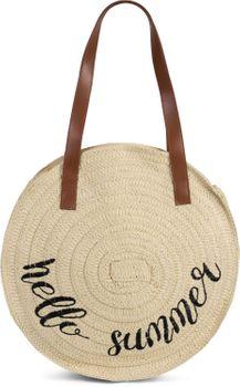 styleBREAKER Damen runde Korbtasche mit gesticktem Hello Summer Spruch und Reißverschluss, Strandtasche geflochten, Schultertasche 02012288 – Bild 1