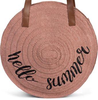 styleBREAKER Damen runde Korbtasche mit gesticktem Hello Summer Spruch und Reißverschluss, Strandtasche geflochten, Schultertasche 02012288 – Bild 8