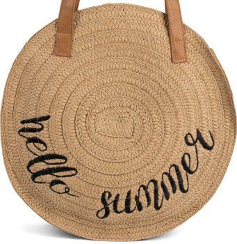 styleBREAKER Damen runde Korbtasche mit gesticktem Hello Summer Spruch und Reißverschluss, Strandtasche geflochten, Schultertasche 02012288 – Bild 13