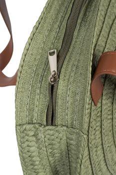 styleBREAKER Damen runde Korbtasche mit gesticktem 'Hello Summer' Spruch und Reißverschluss, Strandtasche geflochten, Schultertasche 02012288 – Bild 19