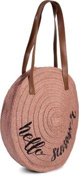 styleBREAKER Damen runde Korbtasche mit gesticktem 'Hello Summer' Spruch und Reißverschluss, Strandtasche geflochten, Schultertasche 02012288 – Bild 7