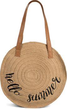 styleBREAKER Damen runde Korbtasche mit gesticktem Hello Summer Spruch und Reißverschluss, Strandtasche geflochten, Schultertasche 02012288 – Bild 11