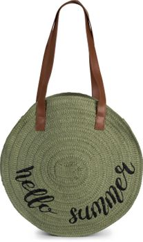 styleBREAKER Damen runde Korbtasche mit gesticktem 'Hello Summer' Spruch und Reißverschluss, Strandtasche geflochten, Schultertasche 02012288 – Bild 16