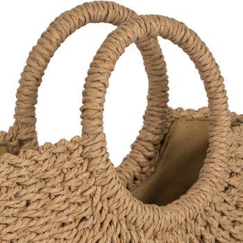 styleBREAKER Damen Halbrunde Korbtasche geflochten mit Kordelzug Verschluss, Bali Bag, Strandtasche, Henkeltasche 02012290 – Bild 3
