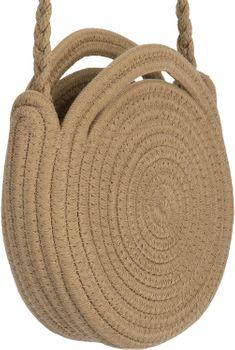 styleBREAKER Damen Runde Bali Bag Umhängetasche mit geflochtenem Taschengurt und Henkeln mit Reißverschluss, Henkeltasche 02012291 – Bild 3