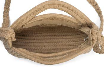styleBREAKER Damen Runde Bali Bag Umhängetasche mit geflochtenem Taschengurt und Henkeln mit Reißverschluss, Henkeltasche 02012291 – Bild 5