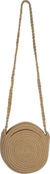 styleBREAKER Damen Runde Bali Bag Umhängetasche mit geflochtenem Taschengurt und Henkeln mit Reißverschluss, Henkeltasche 02012291 – Bild 1