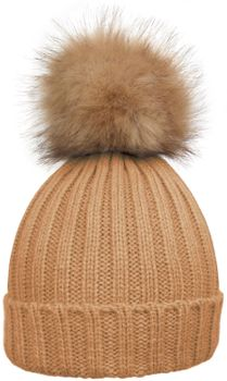 styleBREAKER Women's classic knit hat with large fur bobble and ribbed pattern 04024009 – Bild 2