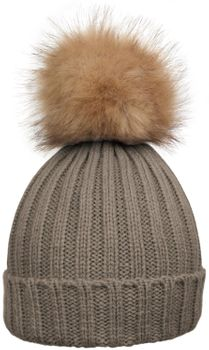 styleBREAKER Women's classic knit hat with large fur bobble and ribbed pattern 04024009 – Bild 11