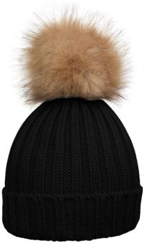 styleBREAKER Women's classic knit hat with large fur bobble and ribbed pattern 04024009 – Bild 12