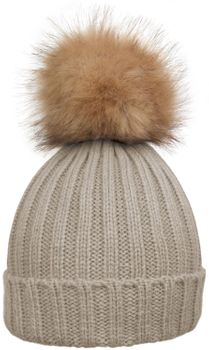 styleBREAKER Women's classic knit hat with large fur bobble and ribbed pattern 04024009 – Bild 14