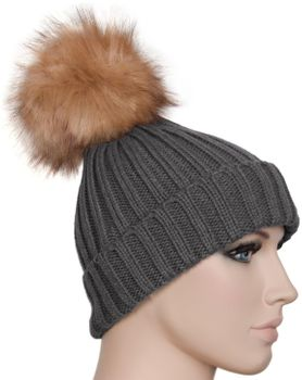 styleBREAKER Women's classic knit hat with large fur bobble and ribbed pattern 04024009 – Bild 15