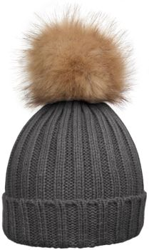 styleBREAKER Women's classic knit hat with large fur bobble and ribbed pattern 04024009 – Bild 3