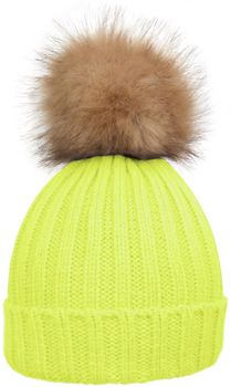 styleBREAKER Women's classic knit hat with large fur bobble and ribbed pattern 04024009 – Bild 4