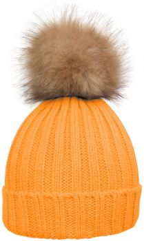 styleBREAKER Women's classic knit hat with large fur bobble and ribbed pattern 04024009 – Bild 5