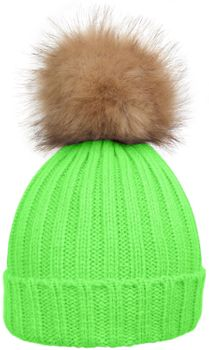 styleBREAKER Women's classic knit hat with large fur bobble and ribbed pattern 04024009 – Bild 6