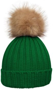 styleBREAKER Women's classic knit hat with large fur bobble and ribbed pattern 04024009 – Bild 1