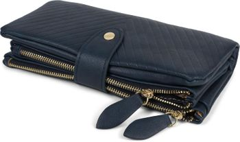 styleBREAKER Damen Portemonnaie mit V-Förmig geprägter Struktur, Druckknopf, Reißverschluss Geldbörse 02040124 – Bild 9