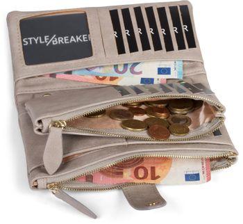 styleBREAKER Damen Portemonnaie mit V-Förmig geprägter Struktur, Druckknopf, Reißverschluss Geldbörse 02040124 – Bild 29