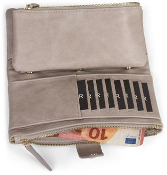 styleBREAKER Damen Portemonnaie mit V-Förmig geprägter Struktur, Druckknopf, Reißverschluss Geldbörse 02040124 – Bild 31