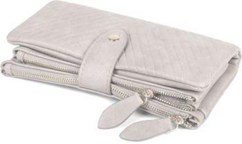 styleBREAKER Damen Portemonnaie mit V-Förmig geprägter Struktur, Druckknopf, Reißverschluss Geldbörse 02040124 – Bild 14