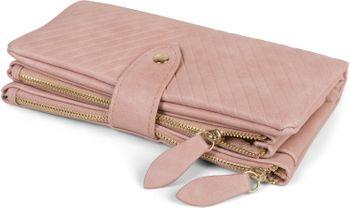 styleBREAKER Damen Portemonnaie mit V-Förmig geprägter Struktur, Druckknopf, Reißverschluss Geldbörse 02040124 – Bild 7