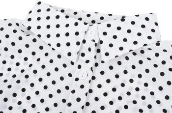styleBREAKER Damen Blusenkragen Einsatz mit Punkte Muster und Knopfleiste, Kragen für Blusen und Pullover, Rockabilly Style 08020005 – Bild 5
