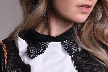 styleBREAKER Damen Blusenkragen Einsatz mit Kragen in Häkelspitze Optik und Knopfleiste, Kragen für Blusen und Pullover 08020006 – Bild 8