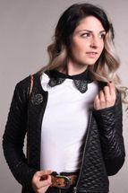 styleBREAKER Damen Blusenkragen Einsatz mit Kragen in Häkelspitze Optik und Knopfleiste, Kragen für Blusen und Pullover 08020006 – Bild 7