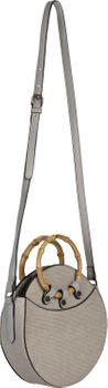styleBREAKER Damen Runde Umhängetasche mit Bambus Henkeln und strukturierter Oberfläche, Schultertasche, Henkeltasche, Tasche 02012292 – Bild 2
