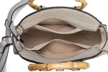 styleBREAKER Damen Runde Umhängetasche mit Bambus Henkeln und strukturierter Oberfläche, Schultertasche, Henkeltasche, Tasche 02012292 – Bild 42