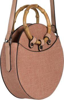 styleBREAKER Damen Runde Umhängetasche mit Bambus Henkeln und strukturierter Oberfläche, Schultertasche, Henkeltasche, Tasche 02012292 – Bild 11