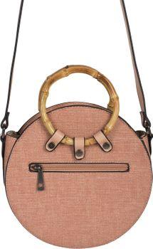 styleBREAKER Damen Runde Umhängetasche mit Bambus Henkeln und strukturierter Oberfläche, Schultertasche, Henkeltasche, Tasche 02012292 – Bild 12